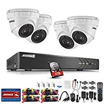 ANNKE 4CH HD-TVI 3MP(1920x1536@18fps) Video Security System with (4) 3-Megapixel Outdoor Metal Dome Cameras, Motion Detection, Super Night Vision-One 2TB HDD