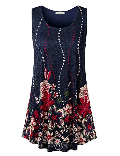 e Tunic, Ladies Lace Floral Printed Crew Neck Sleeveless Vintage Blouse Tee Printed Summer Tops XL Navy ()