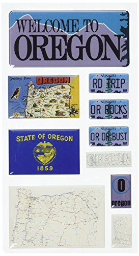 Reminisce Mini Maps Self-Adhesive Epoxy Embellishments 10 Per Package, Oregon