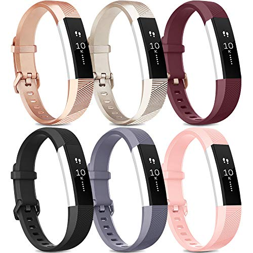 [Pack 6] Bands Compatible with Fitbit Alta HR Bands for Women Men, Soft Silicone Sport Replacement Bands for Fitbit Alta…