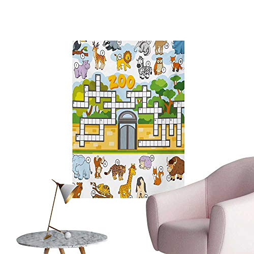 Anzhutwelve Word Search Puzzle Art Stickers Zoo Themed Education Game with Different Animals Numbers and Words PrintMulticolor W32 xL36 Custom Poster -