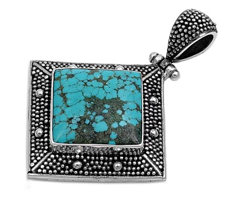 Joyara - Collier Femme Argent Fin 925/1000 Turquoise Pierre Bali (Vient avec une chaîne de 45 CM)