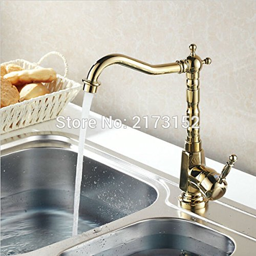 Gold Plated Kitchen Faucet Luxury Solid Style Long Mouth Swivel Basin Sink Mixer Tap G-034 by Tyrants Fauceting