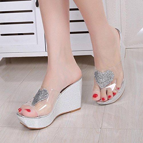 LANDFOX Sandalias de verano de las mujeres Zapatos Peep-dedo del pie zapatos bajos Sandalias plata