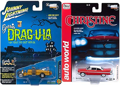 All Your Base Products Christine Horror Movie Car Replica 1958 Plymouth Fury Replica Model + Johnny Lightning Frightning Lighting Munsters Drag-U-La Silver Screen car - Plymouth Set Fury