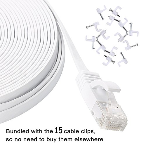 Cat 6 Ethernet Cable 50 ft White – Flat Internet Network Lan patch cords – Solid Cat6 High Speed Computer wire With clips& Snagless Rj45 Connectors for Router, modem – faster than Cat5e/Cat5 – 50 feet