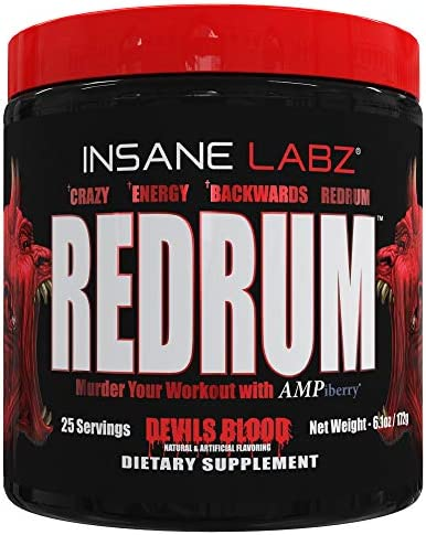 Insane Labz Redrum High Stim Pre Workout NO Booster Powder, Loaded with Beta Alanine Agmatine Sulfate Taurine Fueled by AMPiberry, OXYgold,Focus Strength Recovery,25 Srvgs Devil s Blood Fruit Punch