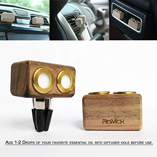 Car Air Freshener Aromatherapy Essential Oil Diffuser Car Vent Clip Diffuser 2Pcs (Natural Wooden)