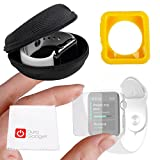 DURAGADGET Exclusive Apple iWatch Custom Bundle - Hard Shell EVA Storage Case for NEW 2015 Apple Watch, Sport & Edition (38mm), Plus Yellow 38mm TPU Cover AND 38mm Screen Protector!