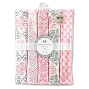 Regent Baby 5 Piece Receiving Blanket, Pink/White
