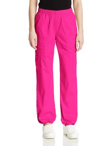 (Cherokee Women's Mid-Rise Elastic Waist Cargo Scrubs Pant, Shocking Pink, Medium)