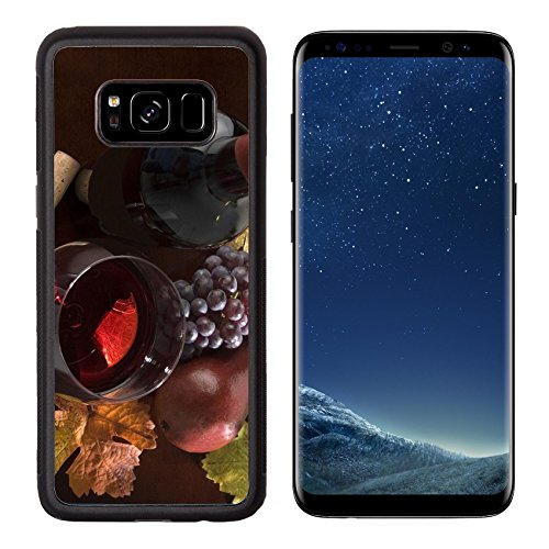 Liili Premium Samsung Galaxy S8 Aluminum Backplate Bumper Snap Case IMAGE ID: 2923856 red wine still life with bottle grapes pear cork corkscrew fall colors on wood surface Cabernet Pear