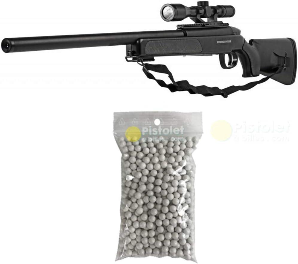 Airsoft Paquete Completo con Accesorios - Arma para Airsoft, Swiss Arms Modelo Eagle Sniper, con Resorte, 0,5 Julios, Color Negro, Recarga Manual