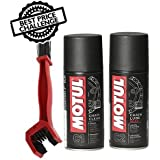 Grand Pitstop Motul C1 Chain Clean and C2 Chain lube (150 ml) with GrandPitstop Bike Chain Cleaning Brush Red