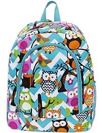 White & Light Aqua Chevron Owl Print School Backpack Bookbag (Aqua)