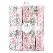 Regent Baby 5 Piece Receiving Blanket, Pink/White