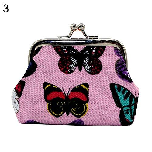 (qiguch66 Headphone Storage Bag, Retro Girl Mini Lightweight Kiss Lock Butterfly Cash Coin Storage Purse Wallet - Pink)