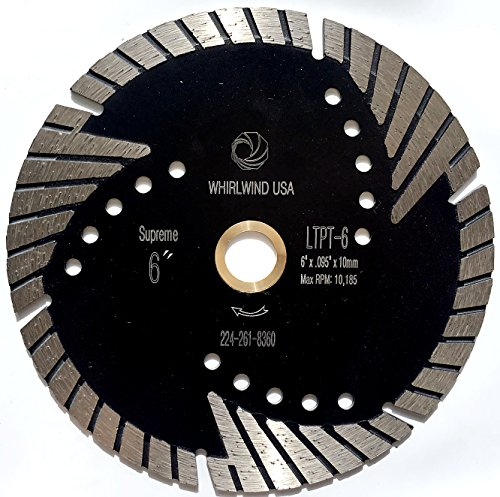 """Whirlwind USA LTPT 6 inch Dry or Wet Cutting General Purpose Power Saw Protected Continue Turbo Diamond Blades for Granite Stone Concrete (Factory Direct Sale) (6"""")"""