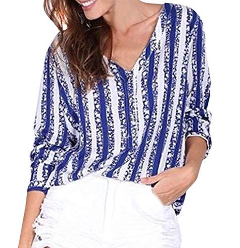 Shirts Haut t V Tee Chemises Bleu Col 4 Rayure Imprime Sexy T Top Femme 3 Fashion Chemisiers Manches Blouse Shirt 6q1r60w