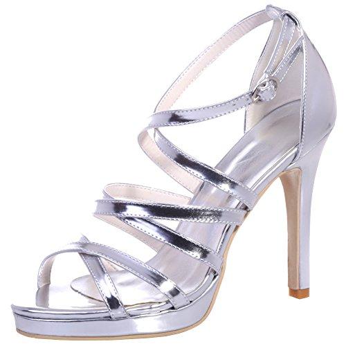 Loslandifen Femmes Soirée Bal Peep Toe Large Bride À La Cheville Talons Hauts Plate-forme De Mariage Chaussures De Soirée Argent-b