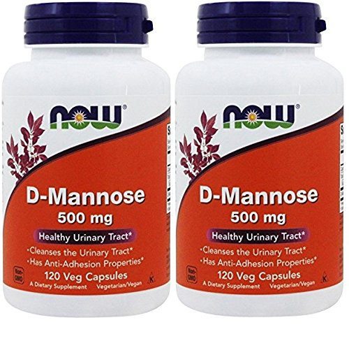 NOW Foods D-Mannose 500 mg, 120 Vegetable Capsule (2 Pack) by NOW Foods