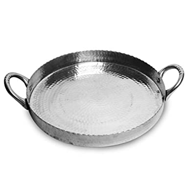 Round Serving Tray with Handles, Hammered Silver Aluminum, 14 inches