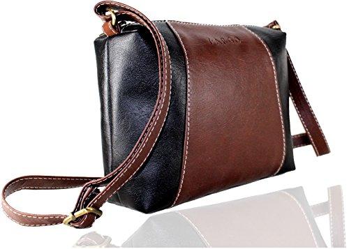 Fargo Motley PU Leather Women's & Girl's Cross Body Side Sling Bag (Brown,Black_FGO-073)