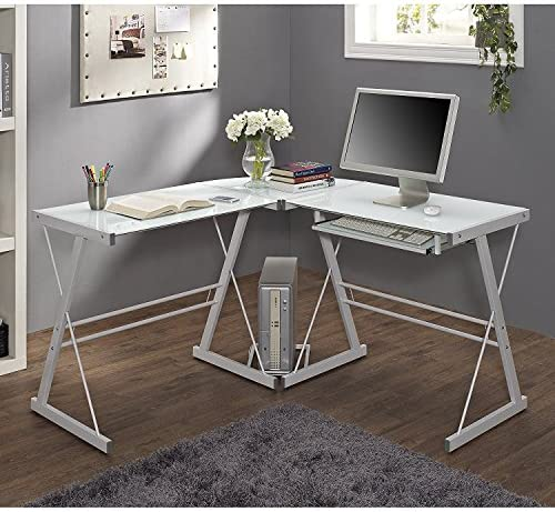 New 51 Corner Writing Computer Office Desk – White Metal Tempered Glass