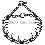 Herm Sprenger Black Stainless Steel Ultra-Plus Prong Collar with Center-Plate and Assembly Chain - 3.2 mm x 23 inches