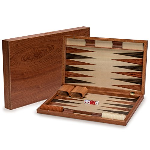 Wooden Backgammon - Yellow Mountain Imports Rosewood Backgammon Game Set (19 inches) - Wood Inlay Board and Accessories - Acryllic Playing Pieces - Shiny Rosewood Veneer Exterior - Large Set