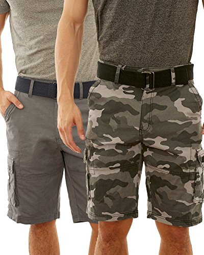 Beverly Hills Polo Club Men\'s Belted Stretch Cargo Short (2 Pack), Black Camo/Grey, Size 34' (Stretch Belted Cotton)