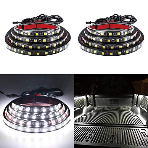 "LivTee 2Pcs 60"" White LED Cargo Truck Bed Light Strip Lamp Waterproof Lighting Kit with On-Off Switch Fuse 2-Way Splitter Cable for Jeep Pickup RV SUV and More"