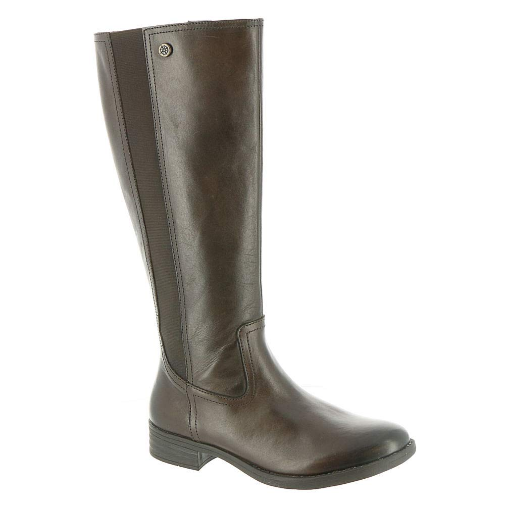 Brown Bussola Women Trapani Elastic Knee-High Boots, Tandra Boots with Metal Studs
