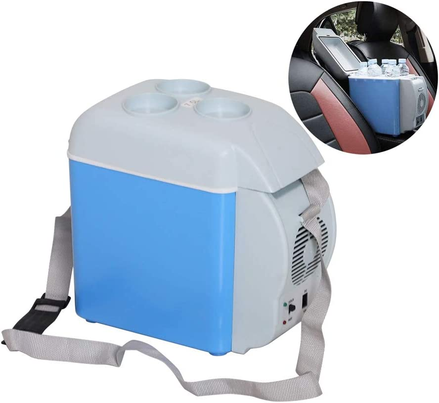 Mini Car Refrigerator 7.5L 12V Portable Electric Cool Box Cooler Warmer Freezer for Car, Camping, Travel, Road Trips, Picnicking