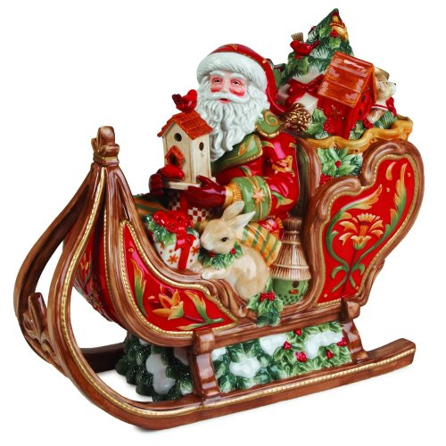 Fitz and Floyd Bellacara Santa & Sleigh Cookie Jar by Fitz and Floyd