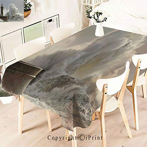 - Durable Rectangle Tablecloth Print Table Cover for Home and Party Decoration,Waves in a Sunny Storm Portuguese,Indoor Outdoor Party Picnic Easy Care Washable Table Cloth,W55 xL55,