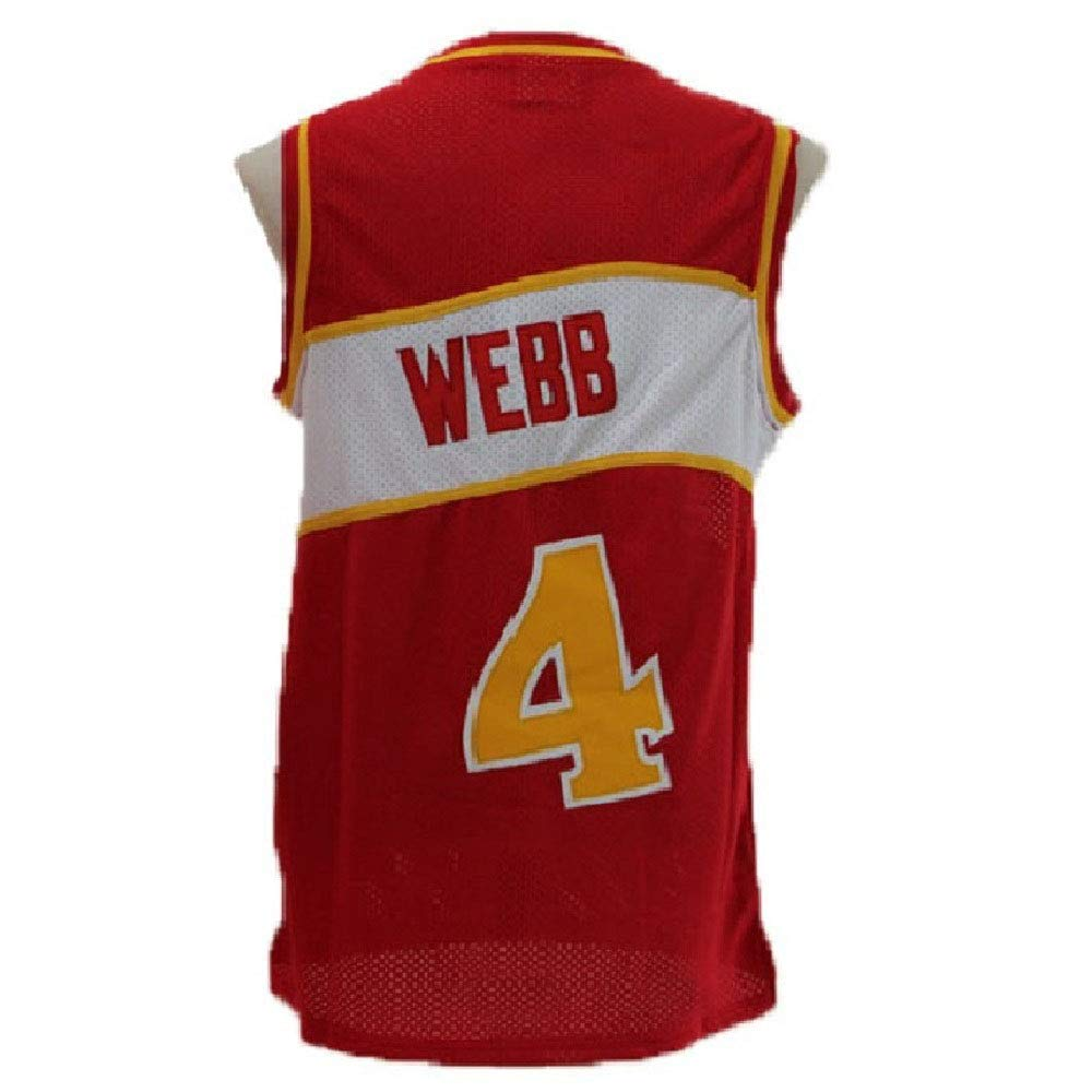 Litmey Mens Webb Jersey Atlanta 4 Jerseys Mens Spud Basketball Jersey Red S-XXL