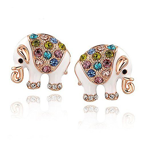 Elephant Studs for Girls - Cute Rose Gold and White Crystals Earrings - Indian Jewelry - Mall of - Crystal Mall