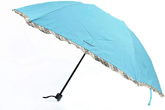 (バーバリー) BURBERRY レディース 織 ドット ノバチェック フリル 折りたたみ傘 ブルー グリーン