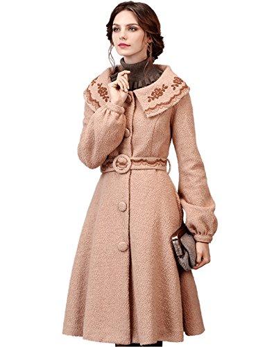 Artka Women's Winter Vintage Embroidered Lapel Belted Wool Dress Coat,M,Salmon