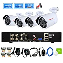iSmart 8 Channel 720P HDMI P2P AHD DVR HVR NVR 3-in-1 Home w/ 4 1200TVL 1.0MP Waterproof Bullet Surveillance Camera Remote Viewing