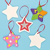 Ceramic Star Hanging Decorations 9cm with Ribbon, for Children to Paint Decorate & Offer as Gift for Father's Day (Box of 5)