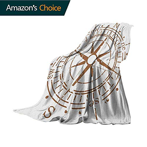 Compass Heated Throw Blanket,Navigation Device of The Age of Discovery Windrose Faded Design Boating Control Warm Blanket for Autumn Winter,30