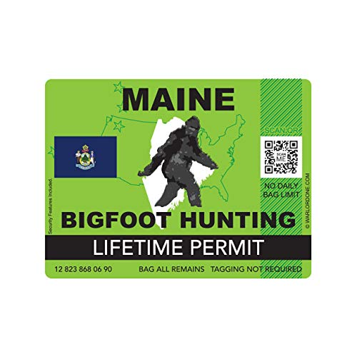 fagraphix Maine Bigfoot Hunting Permit Sticker Die Cut Decal Sasquatch Lifetime FA Vinyl - 4.00 Wide