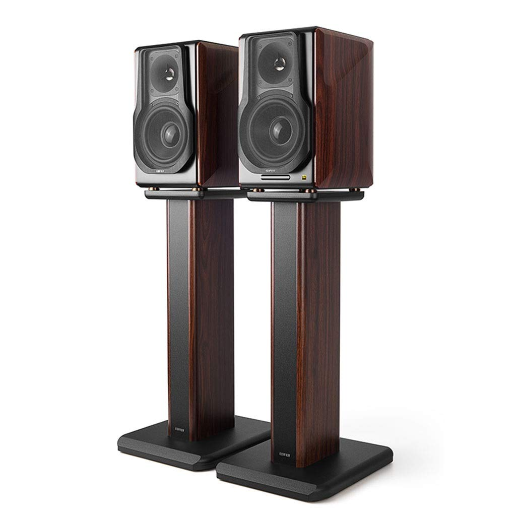 Speaker Stands Solid Wood Monitor Audio Rack Floor Monitor Stand Living Room Set Top Box Bracket A Pair (Color : Brown, Size : 65cm (25.6 inch)) by Speaker Stands