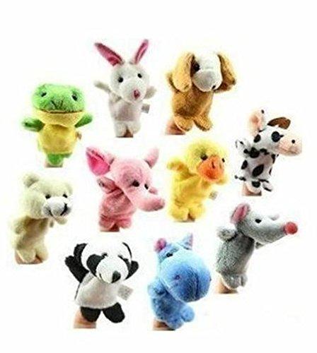 Lumanuby 10 Stück Handpuppe Samt Tuch Finger Spielzeug Insgesamt 10 verschiedene Tierbilder, lustiges Geschenk für Kinder
