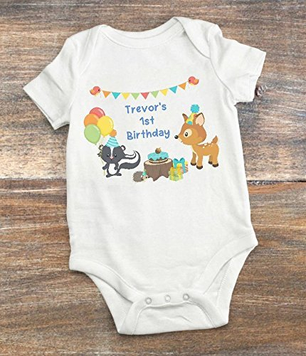 9e79a2334 Amazon.com: First Birthday Outfit - Woodland Themed Birthday Party -  Personalized: Handmade