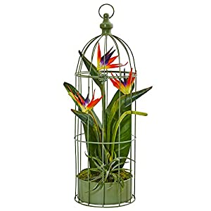 Nearly Natural Tropical Birds of Paradise Artificial Arrangement, Orange 102
