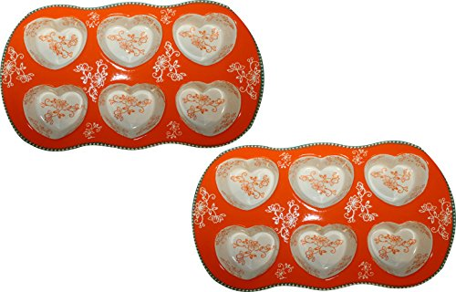 Temp-tations Set of 2 Heart Shaped Muffin or Cornbread Pans (Floral Lace Tangerine)