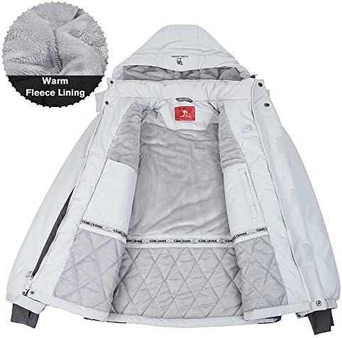 CAMEL CROWN Mens Waterproof Winter Coat Snow Ski Jacket Warm Fleece Mountain Windproof Detachable Hood Jackets Raincoat